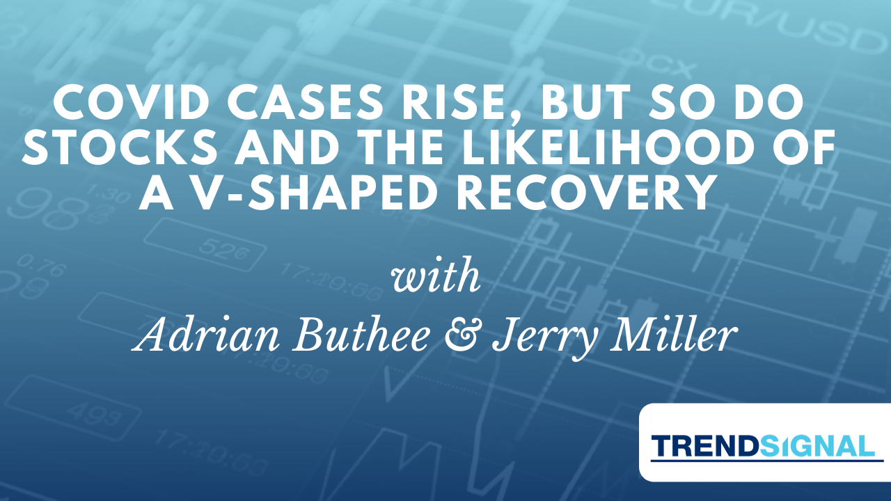 Covid Cases rise, but so do Stocks and the likelihood of a V-Shaped Recovery